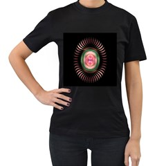 Fractal Plate Like Image In Pink Green And Other Colours Women s T-Shirt (Black) (Two Sided)
