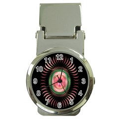 Fractal Plate Like Image In Pink Green And Other Colours Money Clip Watches