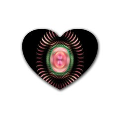 Fractal Plate Like Image In Pink Green And Other Colours Rubber Coaster (heart)