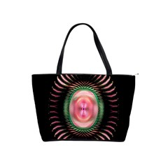 Fractal Plate Like Image In Pink Green And Other Colours Shoulder Handbags