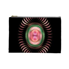 Fractal Plate Like Image In Pink Green And Other Colours Cosmetic Bag (large)
