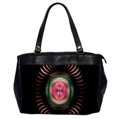 Fractal Plate Like Image In Pink Green And Other Colours Office Handbags