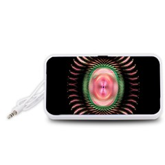 Fractal Plate Like Image In Pink Green And Other Colours Portable Speaker (White)