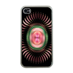 Fractal Plate Like Image In Pink Green And Other Colours Apple iPhone 4 Case (Clear)