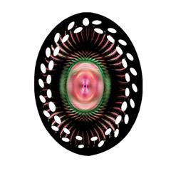 Fractal Plate Like Image In Pink Green And Other Colours Oval Filigree Ornament (Two Sides)
