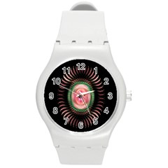 Fractal Plate Like Image In Pink Green And Other Colours Round Plastic Sport Watch (m)