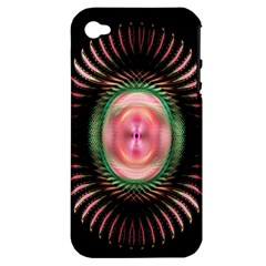 Fractal Plate Like Image In Pink Green And Other Colours Apple iPhone 4/4S Hardshell Case (PC+Silicone)