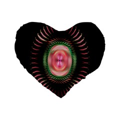 Fractal Plate Like Image In Pink Green And Other Colours Standard 16  Premium Heart Shape Cushions
