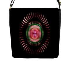 Fractal Plate Like Image In Pink Green And Other Colours Flap Messenger Bag (L)