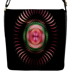 Fractal Plate Like Image In Pink Green And Other Colours Flap Messenger Bag (S)