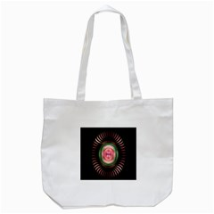 Fractal Plate Like Image In Pink Green And Other Colours Tote Bag (White)