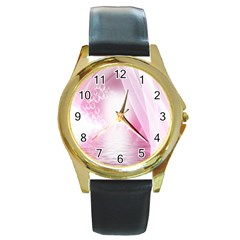Realm Of Dreams Light Effect Abstract Background Round Gold Metal Watch