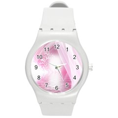 Realm Of Dreams Light Effect Abstract Background Round Plastic Sport Watch (M)