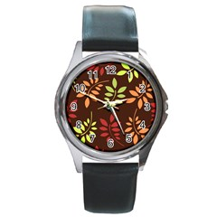Leaves Wallpaper Pattern Seamless Autumn Colors Leaf Background Round Metal Watch