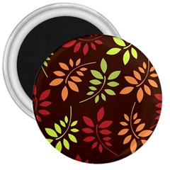 Leaves Wallpaper Pattern Seamless Autumn Colors Leaf Background 3  Magnets