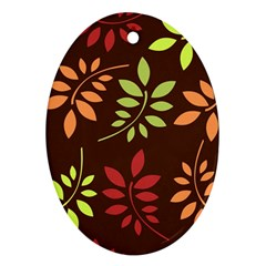 Leaves Wallpaper Pattern Seamless Autumn Colors Leaf Background Ornament (oval)
