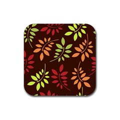 Leaves Wallpaper Pattern Seamless Autumn Colors Leaf Background Rubber Coaster (Square)