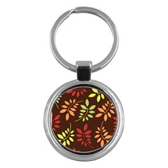 Leaves Wallpaper Pattern Seamless Autumn Colors Leaf Background Key Chains (Round)