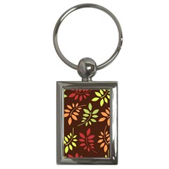 Leaves Wallpaper Pattern Seamless Autumn Colors Leaf Background Key Chains (Rectangle)