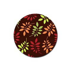 Leaves Wallpaper Pattern Seamless Autumn Colors Leaf Background Rubber Round Coaster (4 Pack)