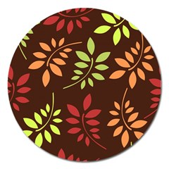 Leaves Wallpaper Pattern Seamless Autumn Colors Leaf Background Magnet 5  (Round)