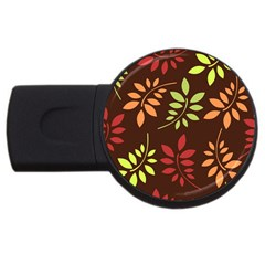Leaves Wallpaper Pattern Seamless Autumn Colors Leaf Background Usb Flash Drive Round (2 Gb)