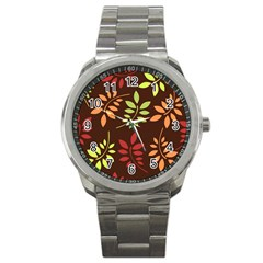 Leaves Wallpaper Pattern Seamless Autumn Colors Leaf Background Sport Metal Watch
