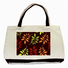 Leaves Wallpaper Pattern Seamless Autumn Colors Leaf Background Basic Tote Bag