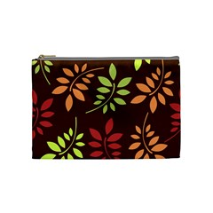 Leaves Wallpaper Pattern Seamless Autumn Colors Leaf Background Cosmetic Bag (medium)