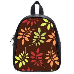 Leaves Wallpaper Pattern Seamless Autumn Colors Leaf Background School Bags (small)