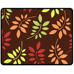 Leaves Wallpaper Pattern Seamless Autumn Colors Leaf Background Fleece Blanket (medium)