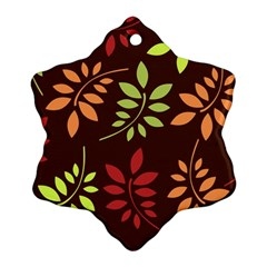 Leaves Wallpaper Pattern Seamless Autumn Colors Leaf Background Snowflake Ornament (two Sides)