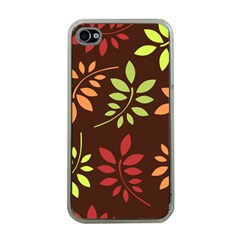 Leaves Wallpaper Pattern Seamless Autumn Colors Leaf Background Apple iPhone 4 Case (Clear)
