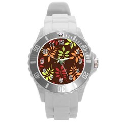Leaves Wallpaper Pattern Seamless Autumn Colors Leaf Background Round Plastic Sport Watch (L)