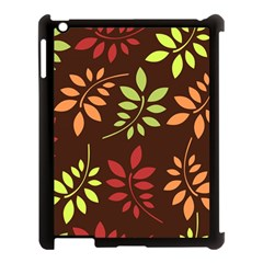 Leaves Wallpaper Pattern Seamless Autumn Colors Leaf Background Apple iPad 3/4 Case (Black)