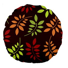Leaves Wallpaper Pattern Seamless Autumn Colors Leaf Background Large 18  Premium Round Cushions