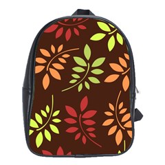 Leaves Wallpaper Pattern Seamless Autumn Colors Leaf Background School Bags (XL)