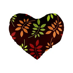 Leaves Wallpaper Pattern Seamless Autumn Colors Leaf Background Standard 16  Premium Heart Shape Cushions