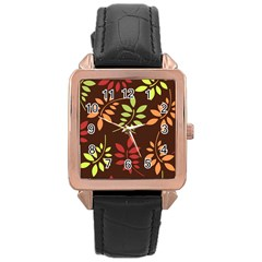 Leaves Wallpaper Pattern Seamless Autumn Colors Leaf Background Rose Gold Leather Watch