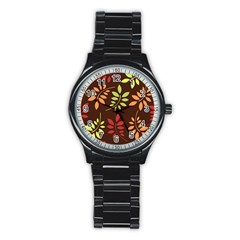 Leaves Wallpaper Pattern Seamless Autumn Colors Leaf Background Stainless Steel Round Watch