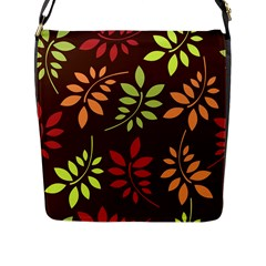 Leaves Wallpaper Pattern Seamless Autumn Colors Leaf Background Flap Messenger Bag (l)
