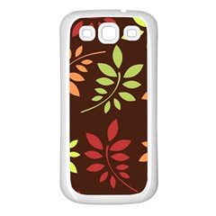 Leaves Wallpaper Pattern Seamless Autumn Colors Leaf Background Samsung Galaxy S3 Back Case (White)