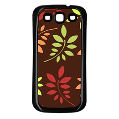 Leaves Wallpaper Pattern Seamless Autumn Colors Leaf Background Samsung Galaxy S3 Back Case (Black)