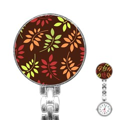 Leaves Wallpaper Pattern Seamless Autumn Colors Leaf Background Stainless Steel Nurses Watch