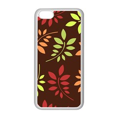 Leaves Wallpaper Pattern Seamless Autumn Colors Leaf Background Apple iPhone 5C Seamless Case (White)