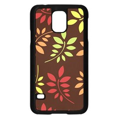 Leaves Wallpaper Pattern Seamless Autumn Colors Leaf Background Samsung Galaxy S5 Case (Black)