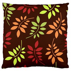 Leaves Wallpaper Pattern Seamless Autumn Colors Leaf Background Large Flano Cushion Case (Two Sides)