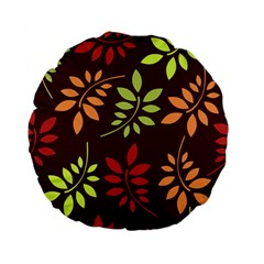 Leaves Wallpaper Pattern Seamless Autumn Colors Leaf Background Standard 15  Premium Flano Round Cushions