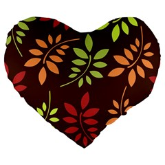 Leaves Wallpaper Pattern Seamless Autumn Colors Leaf Background Large 19  Premium Flano Heart Shape Cushions