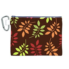 Leaves Wallpaper Pattern Seamless Autumn Colors Leaf Background Canvas Cosmetic Bag (XL)